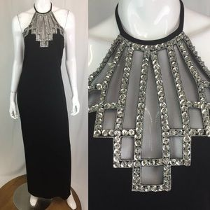 Vintage Sequin Beaded Mesh Jersey Long Halter Gown